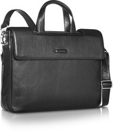 7cb50cb9f587c Piquadro Modus - Expandable Black Calfskin Two-Handle Briefcase  818 at  Forzieri